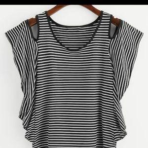 Tops - Cold shoulder striped top
